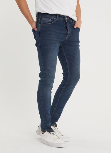 XHAN Yıkamalı Lacivert Slim Fit Jean Pantolon 1Kxe5-44351-48 Lacivert